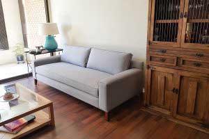 sofaonline - sofa a medida Lucía con tela canvas gris