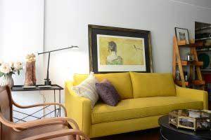 sofaonline - sofa a medida Manuela con tela de lino mediterraneo curcuma