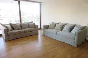 sofaonline - Sofa a medida Margarita con tela de lino caribe niebla