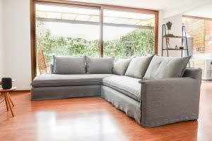 sofaonline - sofa modular a medida Emilia con tela de lino gris