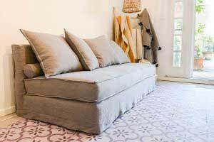 sofaonline - sofa a medida Agusta con tela de lino gris