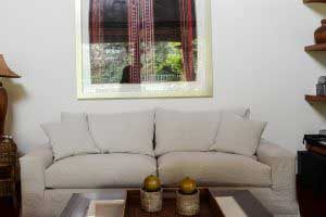 sofaonline - Sofa a medida Juana con tela de lino caribe hueso
