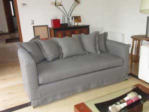 sofaonline - Sofa a medida Maida con tela de lino caribe gris