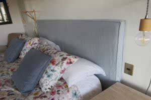 sofaonline - Respaldo funda pestaña doble con tela de lino holandes celeste