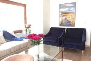 sofaonline - Sillon Satiago con tela de terciopelo azul