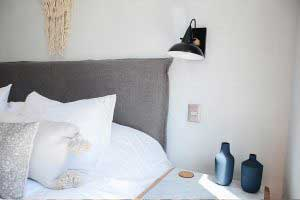 sofaonline - Respaldo para cama con funda pestaña simple